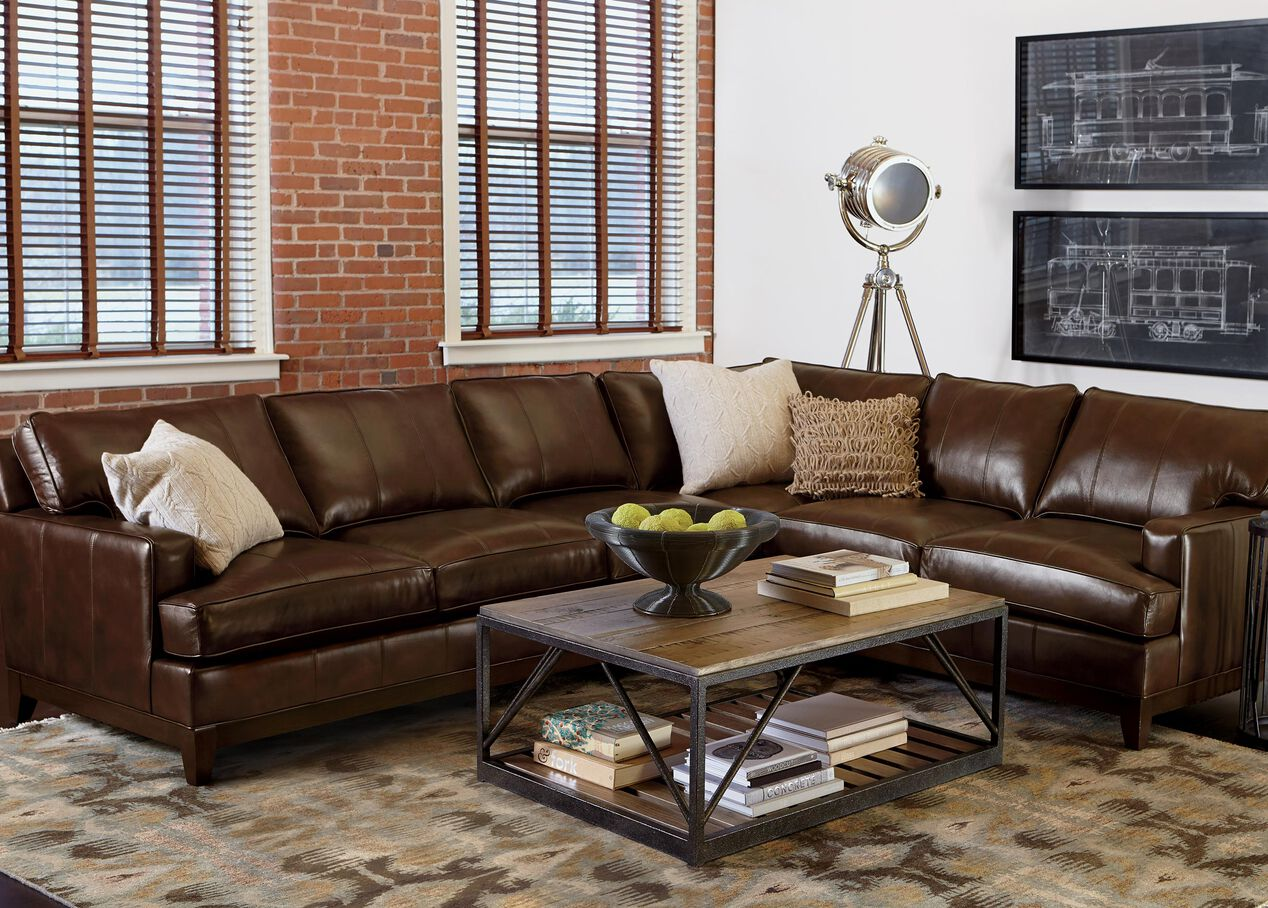 Arcata Four Piece Leather Sectional Quick Ship