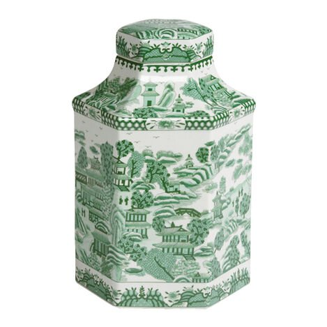 Green and White Hexagon Jar ,  , large