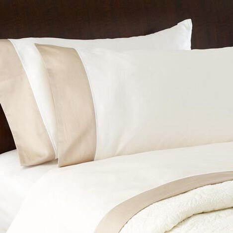 Hayden Pillowcases, Ivory/Flax ,  , large