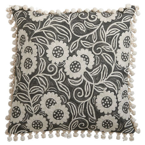 Crewel Sunflower Vine Pillow, Gray ,  , large