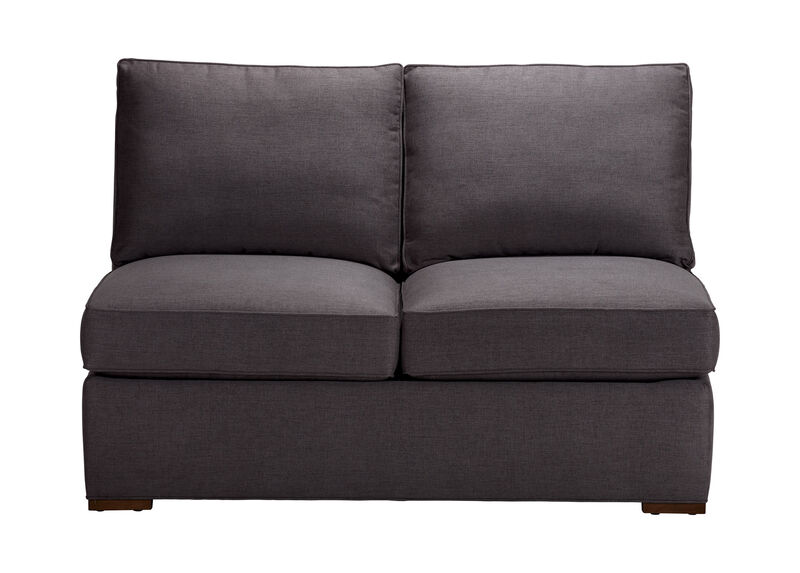 Meeting Place Armless Loveseat , Zest Charcoal (D1054), strie texture , large_gray