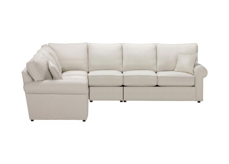 Retreat Roll-Arm Four Piece Sectional, Quick Ship , Hailey Ivory (Q1032), solid texture , large_gray