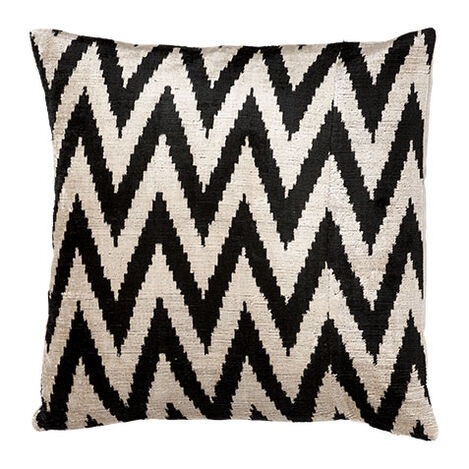 Silk Velvet Pillow, Black/Taupe ,  , large