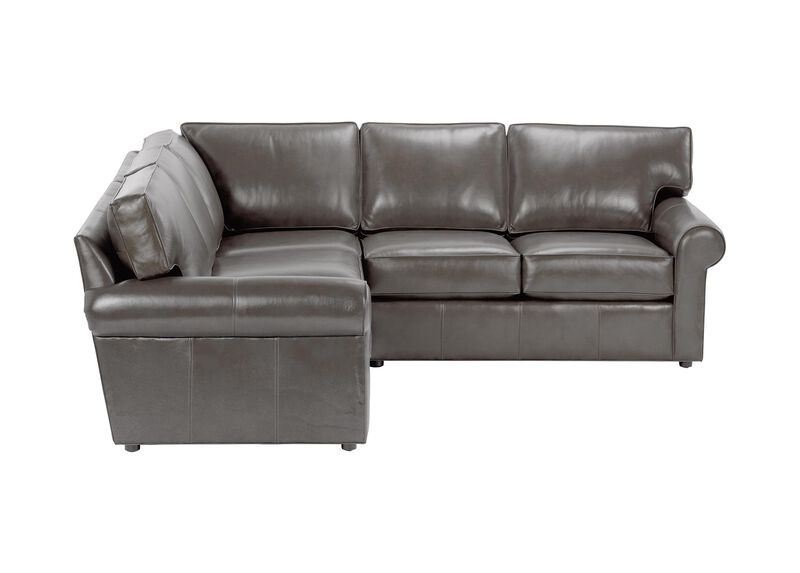 Retreat Roll-Arm Leather Three Piece Sectional, Quick Ship ,  , large_gray