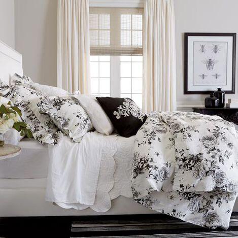 Ava Rose Linen Duvet Cover and Dominique White Quilt ,  , large