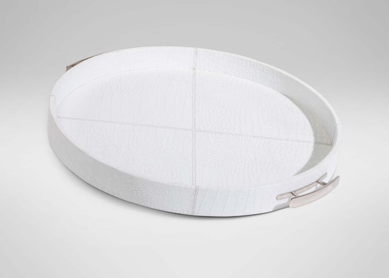 Round White Leather Tray at Ethan Allen in Ormond Beach, FL | Tuggl