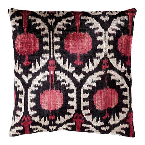 Silk Velvet Pillow, Pink/Black Ikat ,  , large