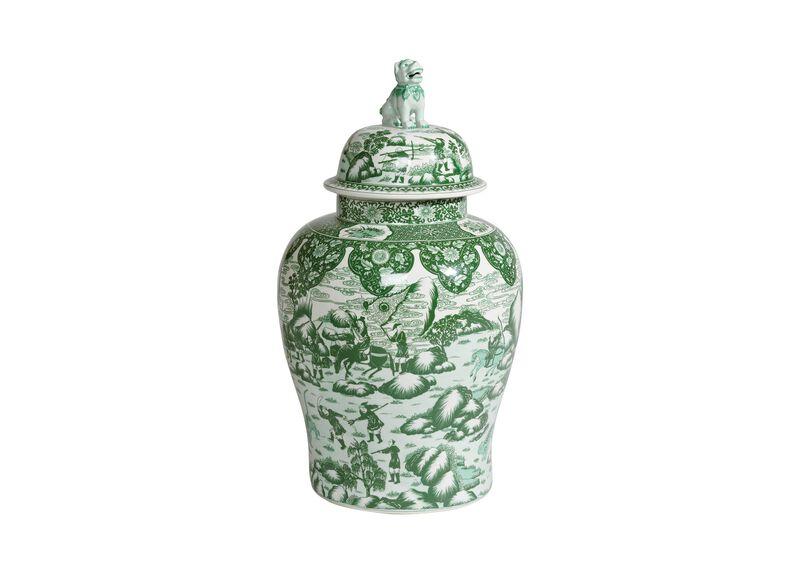 Green and White Foo Dog Jar ,  , large_gray
