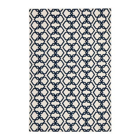 Interlock Rug, Ivory/Blue ,  , large