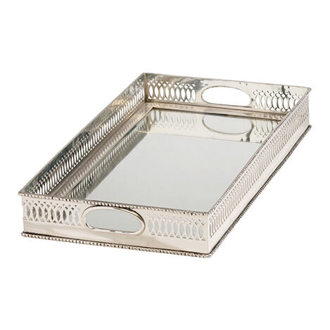 Traditional Mirrored Silver Tray ,  , large