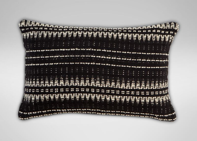 """12"""" x 20"""" Black and Ivory Woven Silk Pillow ,  , large_gray"""