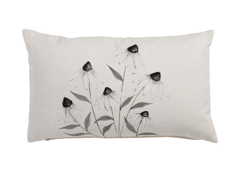 Hand-Painted White Cone Flower Pillow ,  , large_gray