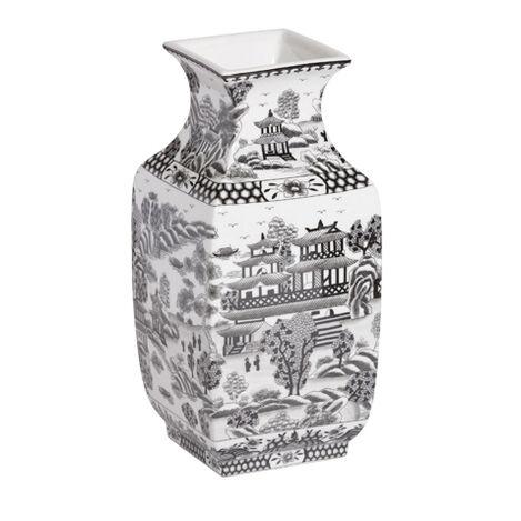 Black and White Square Vase ,  , large