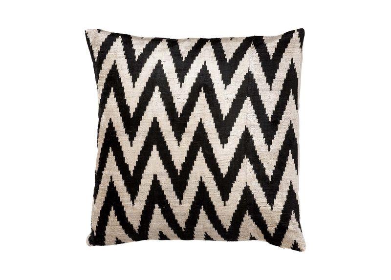 Silk Velvet Pillow, Black/Taupe ,  , large_gray