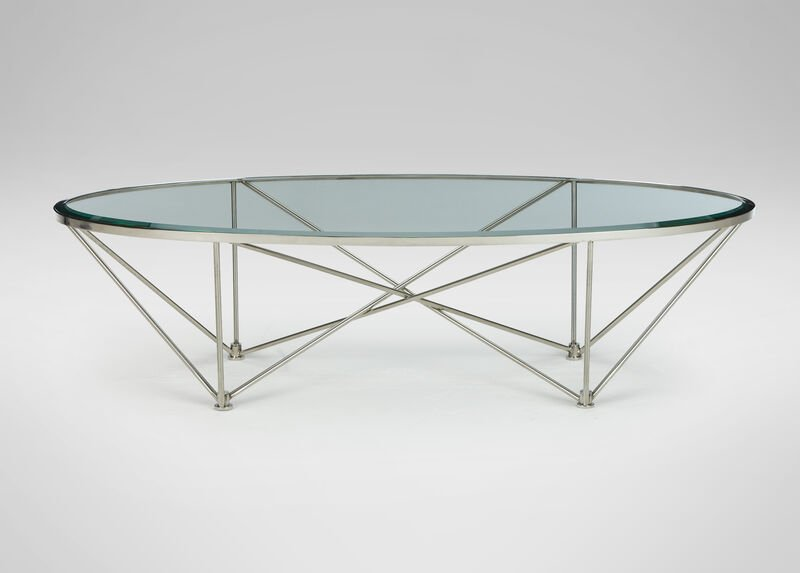 Kestral Oval Coffee Table, Polished Steel at Ethan Allen in Ormond Beach, FL | Tuggl