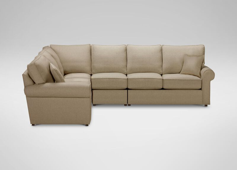 Retreat Roll-Arm Four Piece Sectional, Quick Ship , Palmer Oyster (Q3033), chenille , large_gray