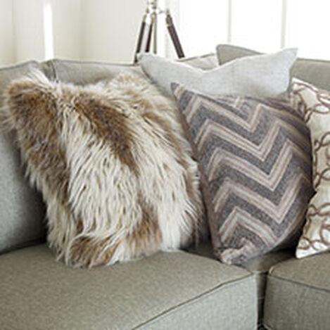 Modern Gray Bouclé Chevron Pillow ,  , hover_image