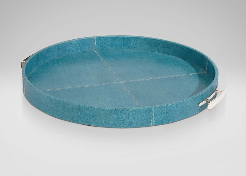 Round Turquoise Leather Tray ,  , large_gray