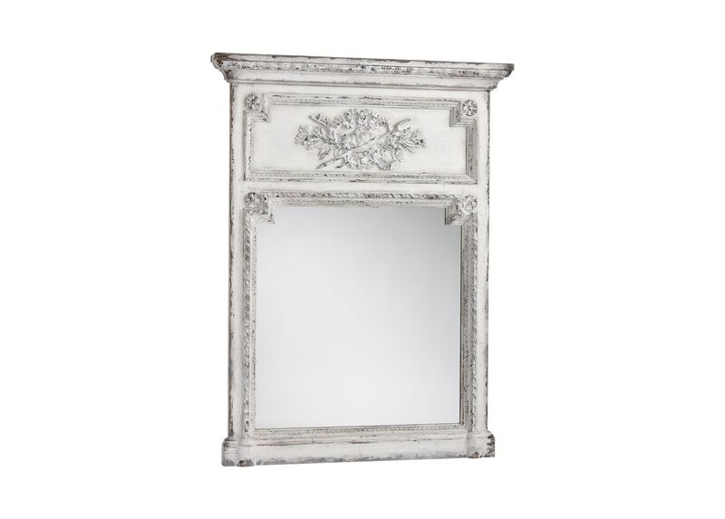 Antique White Madeleine Trumeau Wall Mirror ,  , large_gray