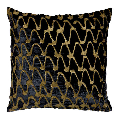 Ripple Pillow, Navy/Gold ,  , large