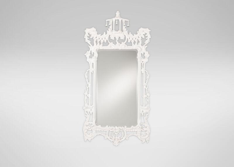 Gloss White Chinoiserie Mirror ,  , large_gray
