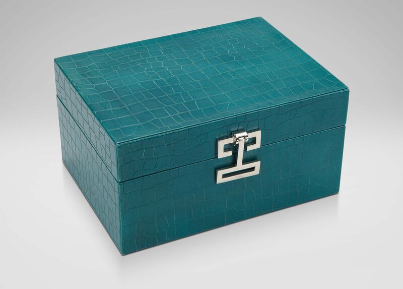 Small Turquoise Croc Box ,  , large_gray