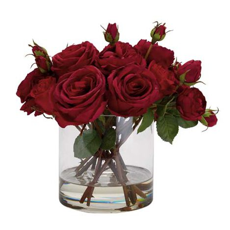 Mixed Red Roses in Glass ,  , large
