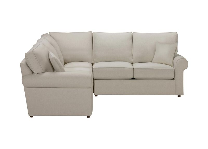 Retreat Roll-Arm Three Piece Sectional, Quick Ship , Hailey Natural (Q1031), solid texture , large_gray