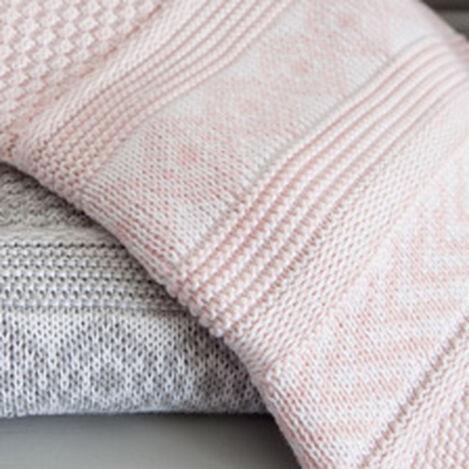 Sweater Stitch Knit Stroller Blanket, Petal ,  , hover_image