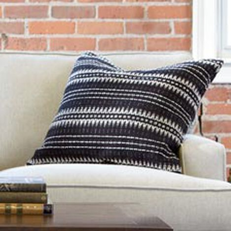 "22"" Black and Ivory Woven Silk Pillow ,  , hover_image"