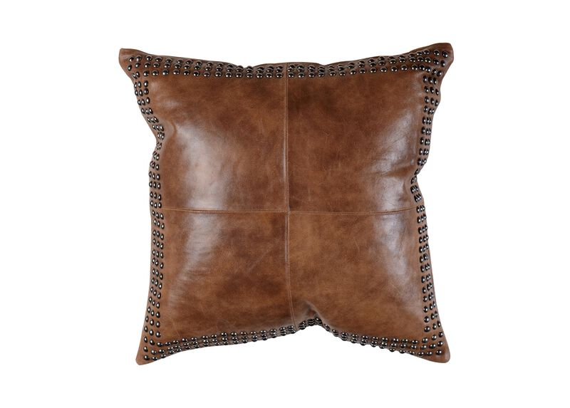 Brown Worn Leather Pillow ,  , large_gray