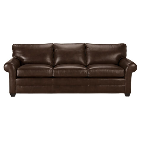 Bennett Roll Arm Leather Sofa, Quick Ship