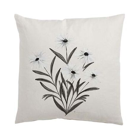 Hand-Painted White Daisy Pillow ,  , large