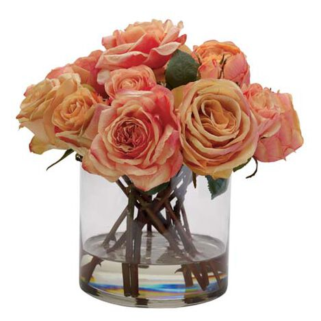 Mixed Orange Roses in Glass ,  , large