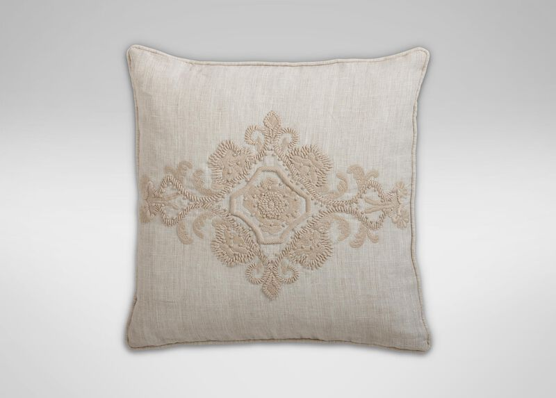 Embroidered Scroll on Natural Linen Pillow ,  , large_gray