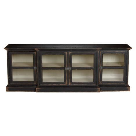 Farragut Media Cabinet, Rustic Black with White Interior ,  , large
