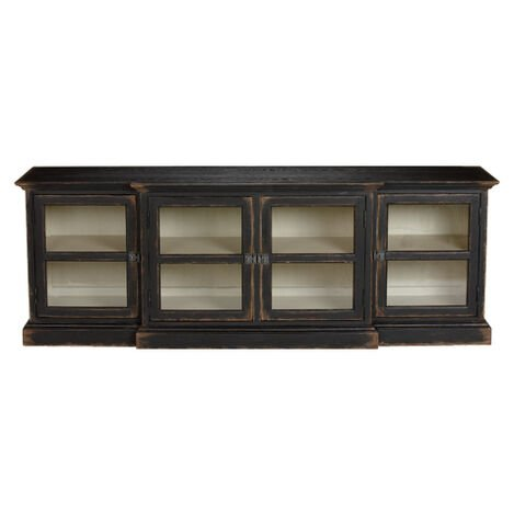 Farragut Media Cabinet Rustic Black With White Interior Large
