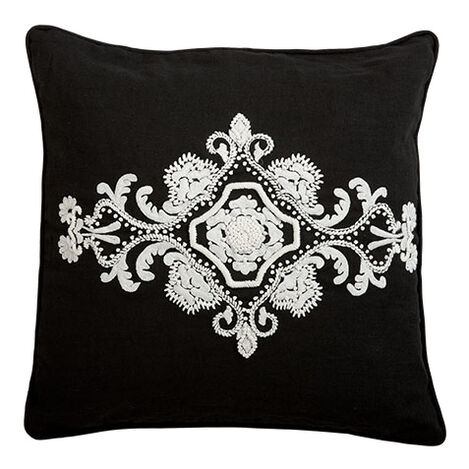 Embroidered Scroll on Black Linen Pillow ,  , large