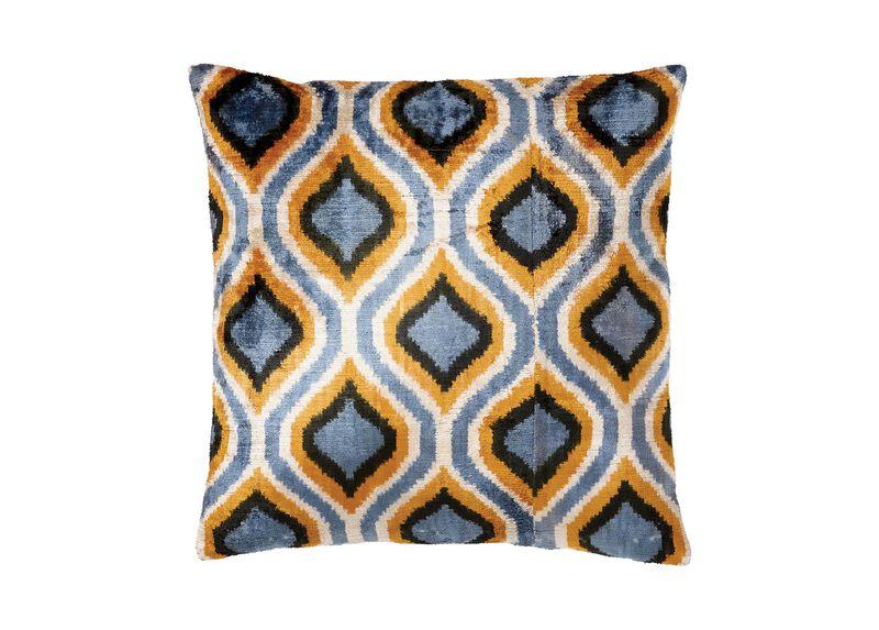 Silk Velvet Pillow, Blue/Gold  ,  , large_gray