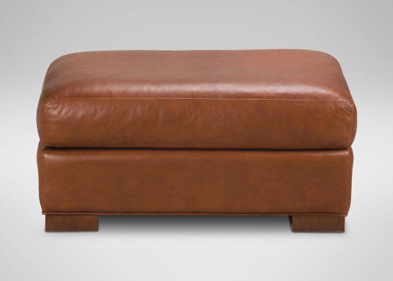 Hudson leather ottoman ottomans benches for Ethan allen hudson sofa