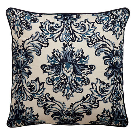 Crewel Embroidered Medallion Pillow, Blue ,  , large