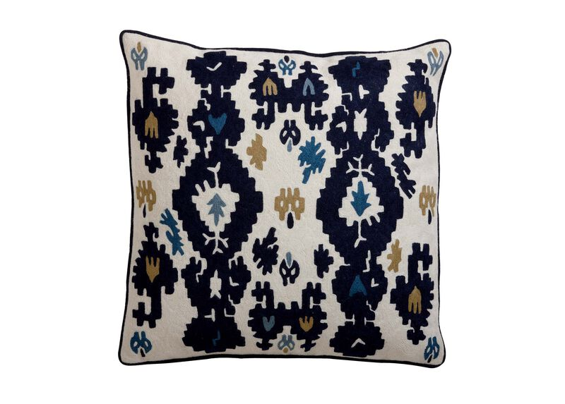 Crewel Embroidered Ikat Pillow ,  , large_gray