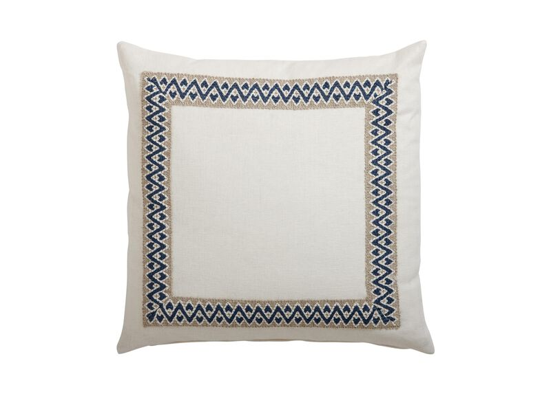 Framed Ivory Pillow, Navy/Taupe ,  , large_gray