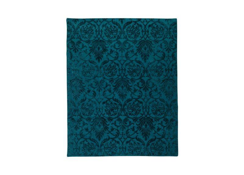 Jacquard Damask Rug, Turquoise ,  , large_gray