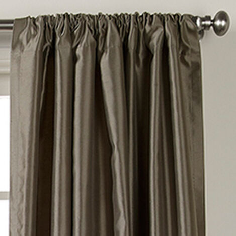 Pewter Satin Dupioni Rod-Pocket Panel ,  , hover_image