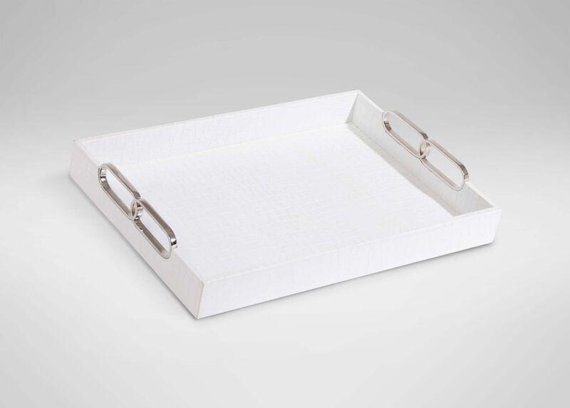 Rectangular White Leather Tray ,  , large_gray