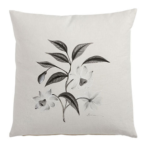 Hand-Painted White Flower Branch Pillow ,  , large