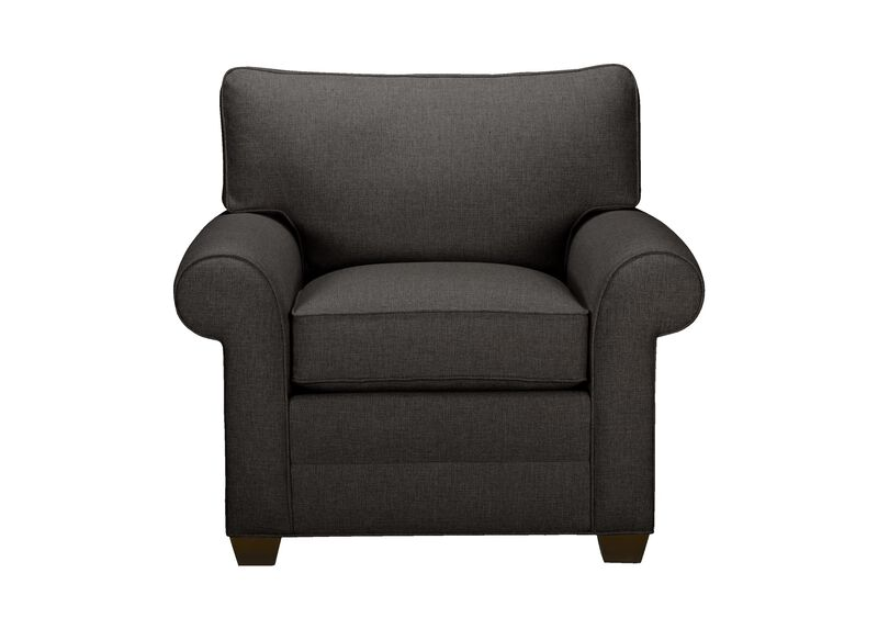 Bennett Roll-Arm Chair, Quick Ship , Hailey Charcoal (Q1055), solid texture , large_gray