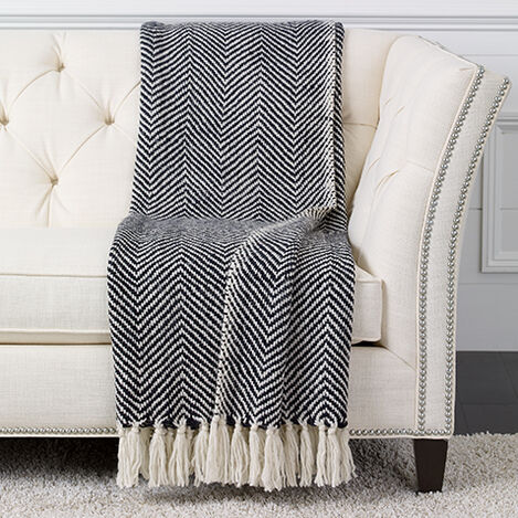 Herringbone Knit Throw,  Black/White ,  , large