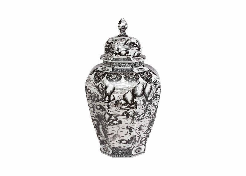 Extra Large Black and White Ginger Jar ,  , large_gray
